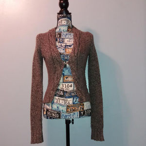 Fossil Brown Wool Blend Knit Cardigan Sweater